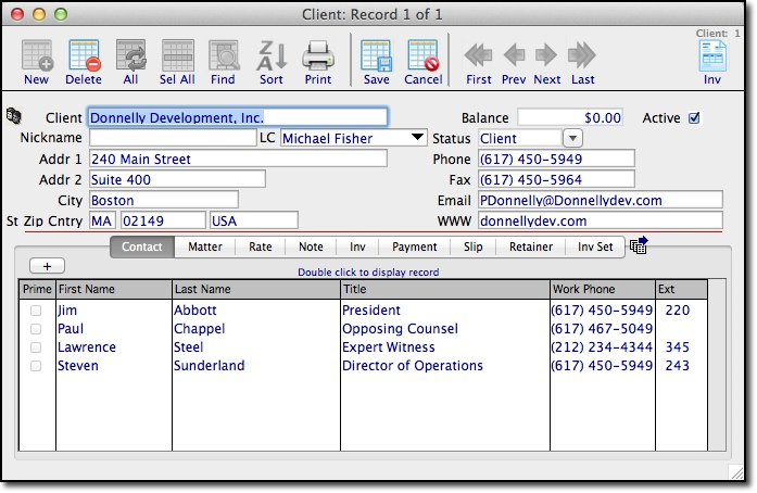 Contact Management Form in TimeManager
